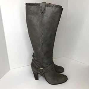 Frye Vicki Gray Knee High Boot Harness Size 7 Heel